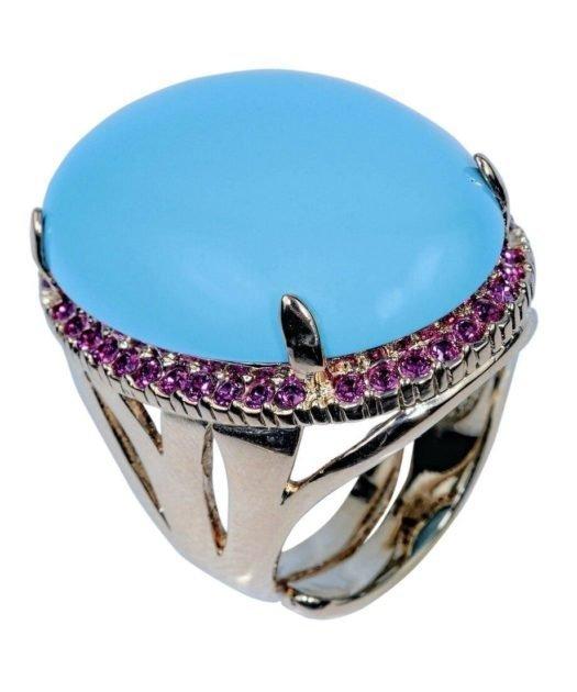 Anillo turquesa con cristales Swarovski violetas de plata de ley con baño de rodio