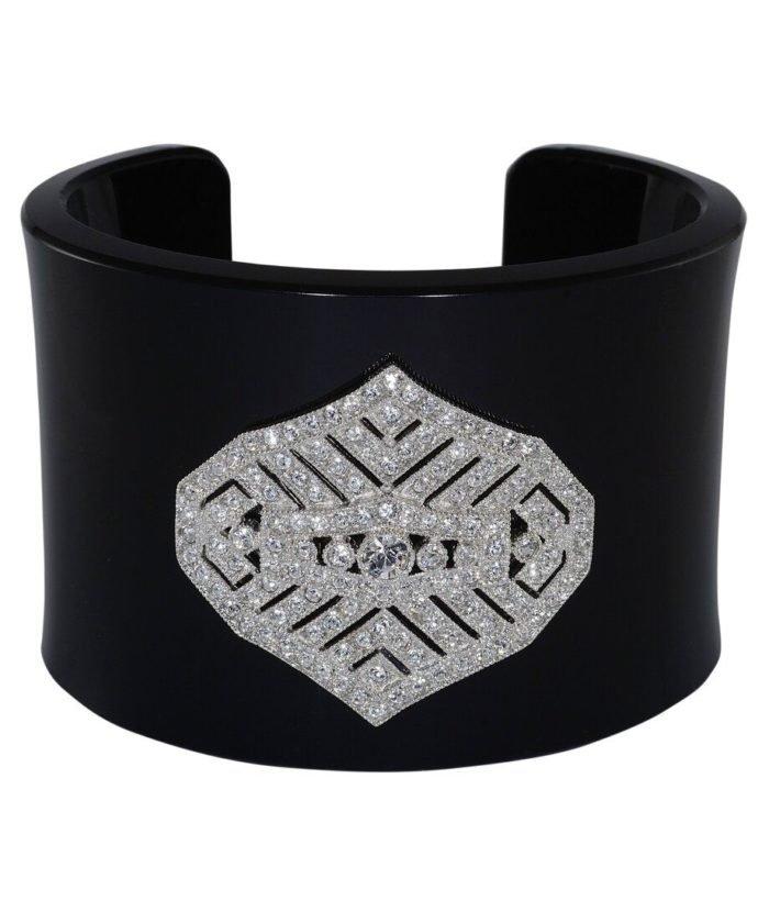 Brazalete negro plata rodinada con cristales Swarovski brillantes