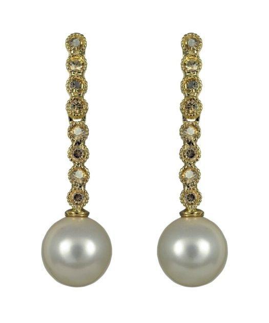 Pendientes oro amarillo finos con perla de plata de ley con Swarovski Elements