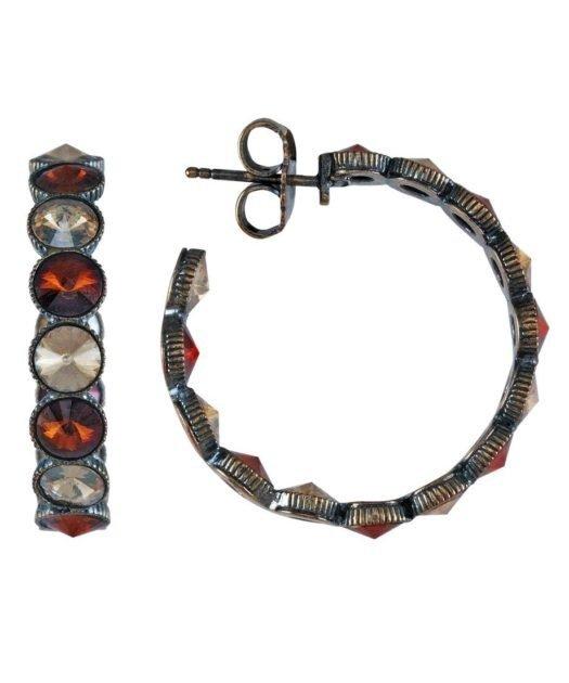 Pendientes de aro vintage de plata con cristales Swarovski
