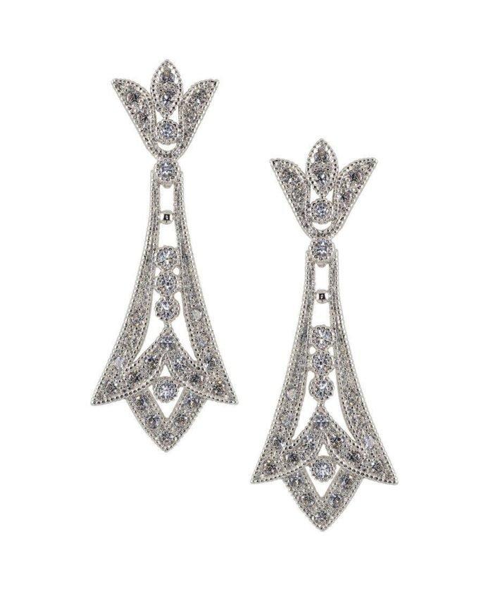 Pendientes de boda en plata rodinada con cristales Swarovski blancos