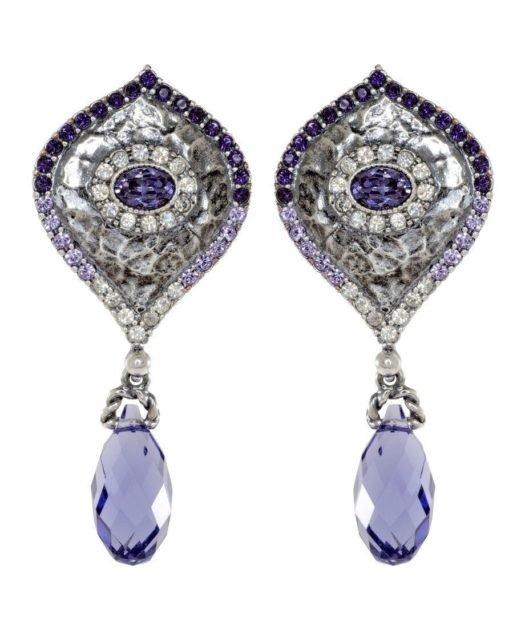 Pendientes etruscos de plata con lágrima Swarovski de color violeta