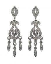 Pendientes novia flecos de plata rodinada con cristales Swarovski