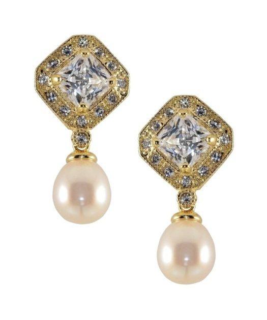 Pendientes oro amarillo circonitas y perla fabricados en plata de primera ley