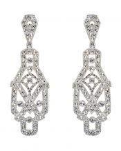Pendientes vintage brillantes para novia de plata rodinada con cristal Swarovski