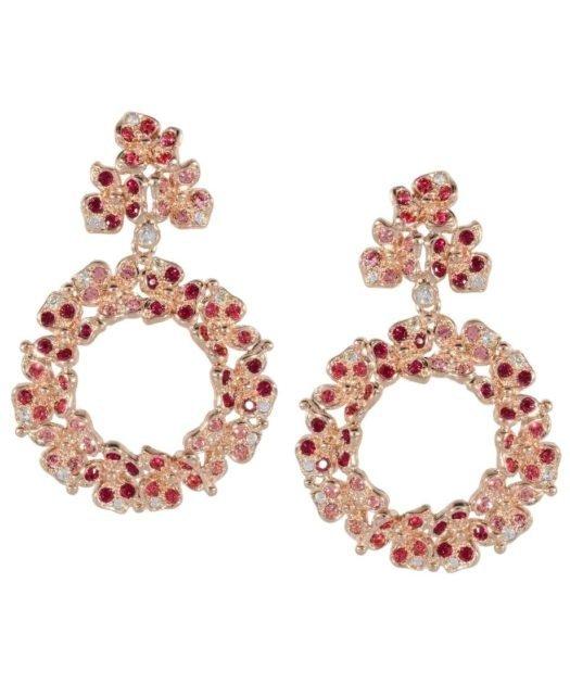 Pendientes de aro con flores rosas de plata y Swarovski Elements