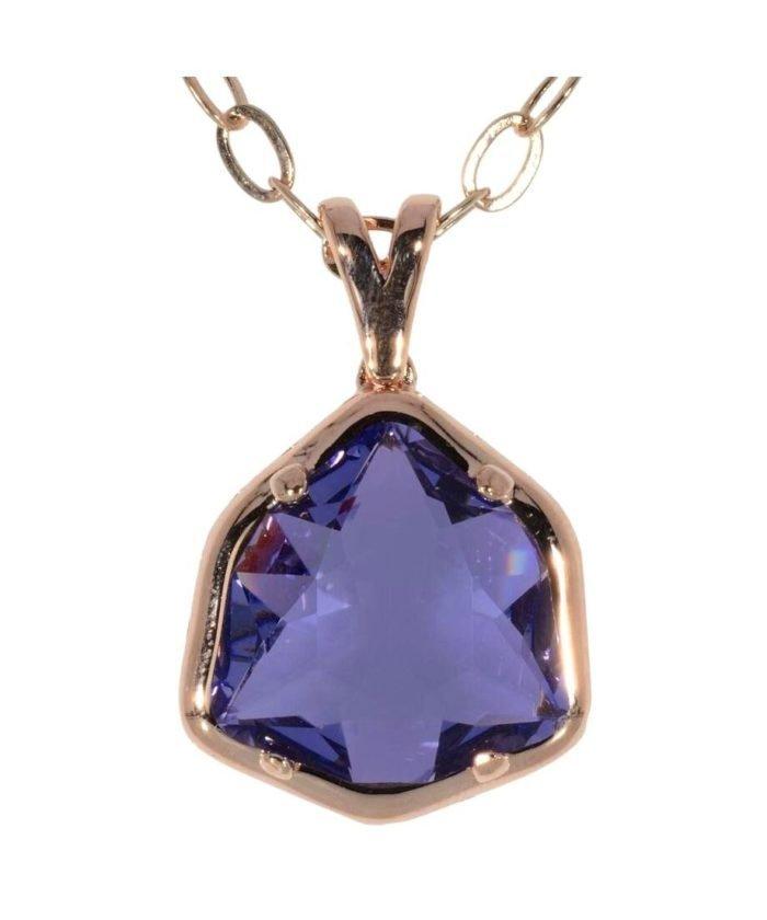 Colgante fiesta oro rosa de plata de ley con un cristal violeta