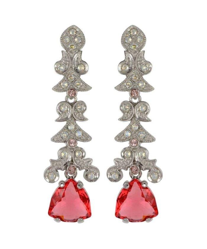 Pendientes de novia rosas y blancos en plata rodinada con Swarovski Elements