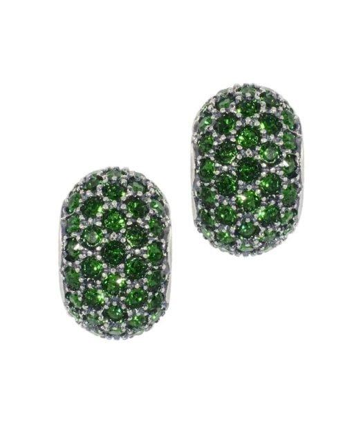Pendientes pequeños colores verdes de plata de primera ley