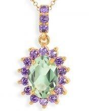 Colgante de roseta verde y violeta con cristal Swarovski en plata de primera ley