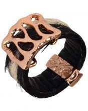 Anillo estrecho pelo cebra de plata de ley bañada en oro rosa 18 quilates