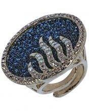 Anillo grande azul con pavé de plata rodinada con Swarovski Elements