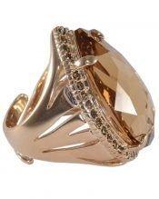 Anillo oro vintage con cristales Swarovski marrones de plata de ley
