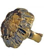 Anillo oro vintage con formas orgánicas de plata con un cristal Swarovski marrón