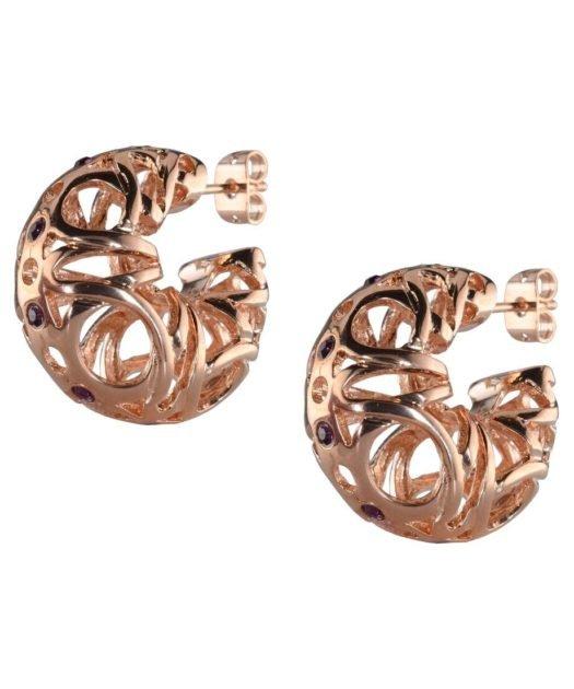 Pendientes Huecos oro rosa de plata 925 milésimas con cierre de presión