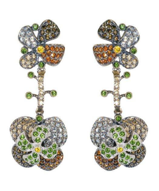 Pendientes largos flor de loto multicolor con Swarovski Elements
