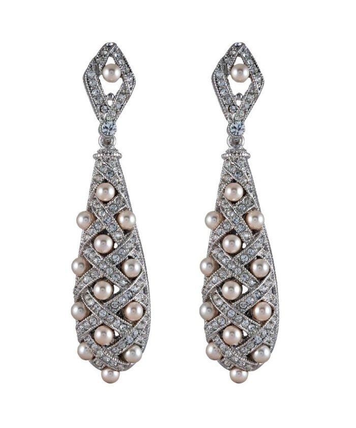Pendientes plata con perlas pequeñas y cristales Swarovski
