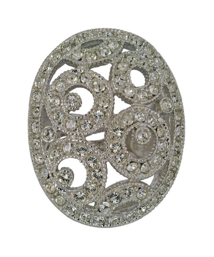 Anillo Estilo con círculos de plata rodinada con cristales Swarovski color blanco