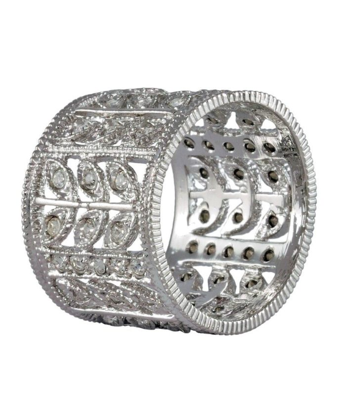 Anillo ancho de plata rodinada con cristales Swarovski