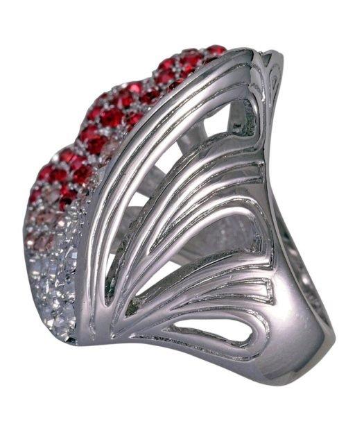 Anillo concha roja y blanca de plata rodinada con Swarovski Elements