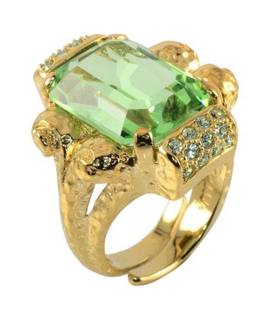 Anillo plata dorada cristal verde claro de la firma española Máximo Betro