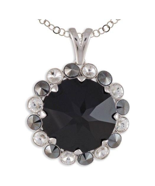 Colgante círculo plata rodinada con un cristal Swarovski negro