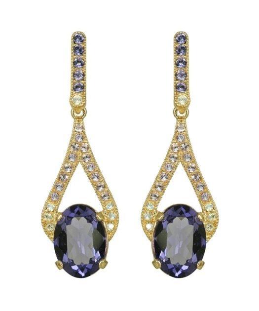 Pendientes clásicos dorados y violetas de plata de ley bañada en oro amarillo con cristales Swarovski