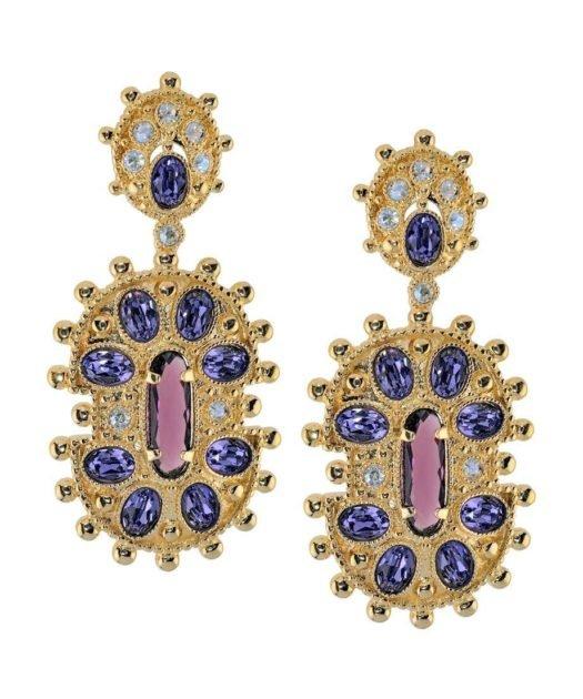 Pendientes étnicos dorados con cristales de Swarovski