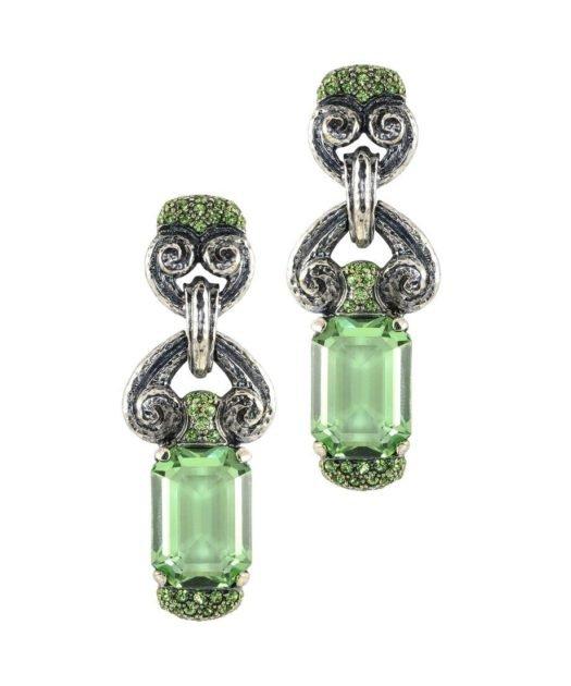 Pendientes largos plata vieja verdes con cristales Swarovski