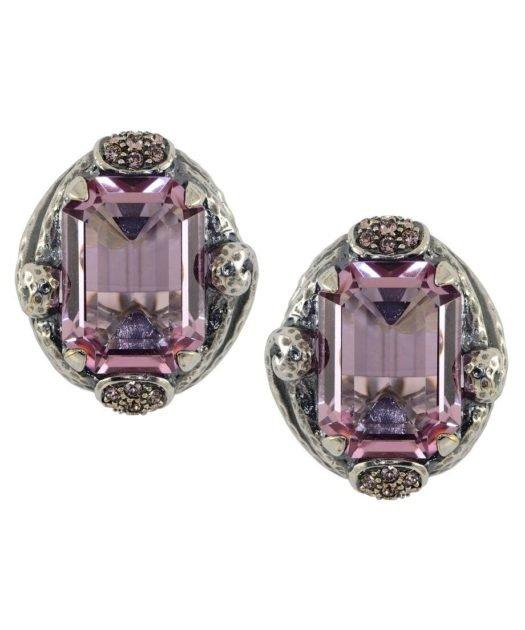 Pendientes martelé violetas de plata con cristales Swarovski