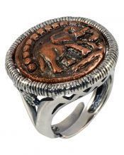 Anillo moneda bronce de plata de primera ley rodinada