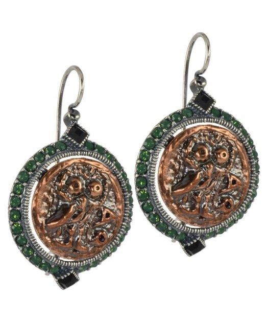 Pendientes de gancho moneda antigua de plata y bronces con Swarovski