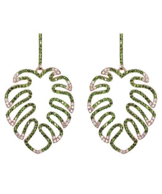 Pendientes de hoja verde y blanca en plata con cristal Swarovski