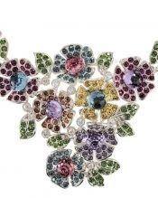 Collar de flores con Swarovski Elements multicolor de plata de primera ley rodinada de la colección exclusiva de Máximo Betro.