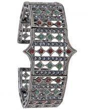 Brazalete vintage abierto de plata de ley con cristales Swarovski