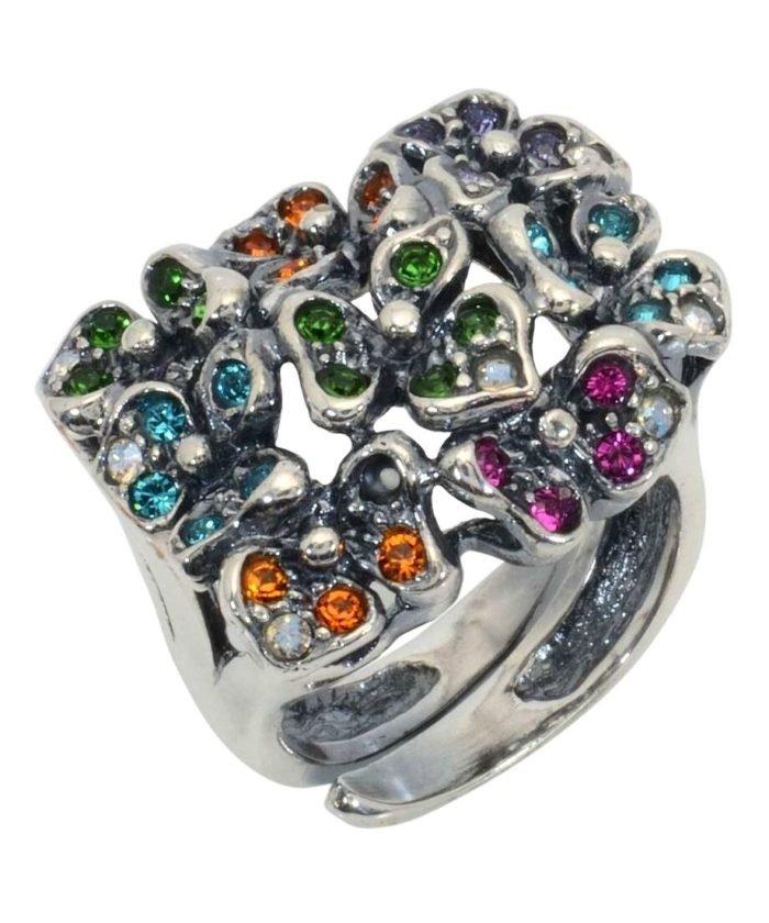 Sortija flores de plata rodinada con Swarovski Elements