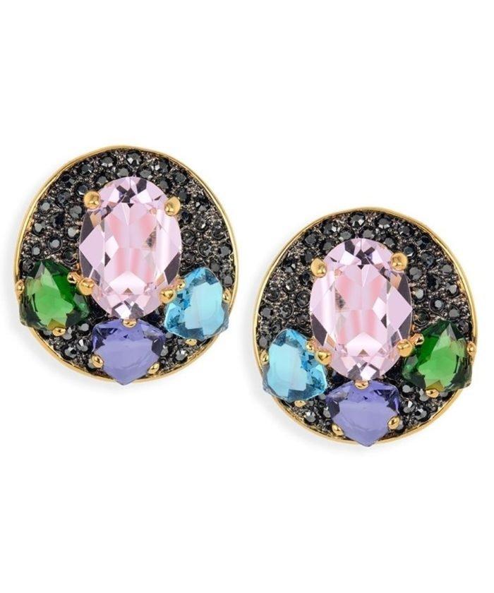 Pendientes oro rosa cortos de plata con cristales Swarovski