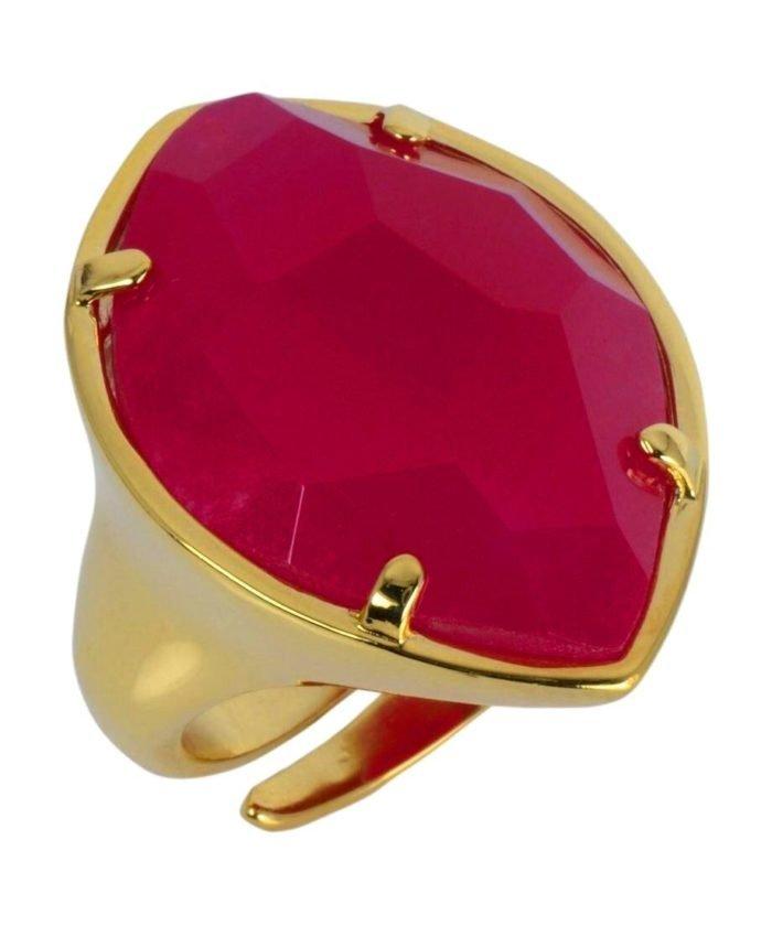 Anillo Alegría con piedra fucsia de plata bañada en oro rosa