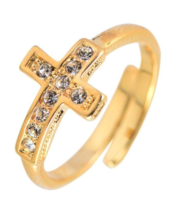 Anillo cruz con cristales Swarovski en plata de ley bañada en oro