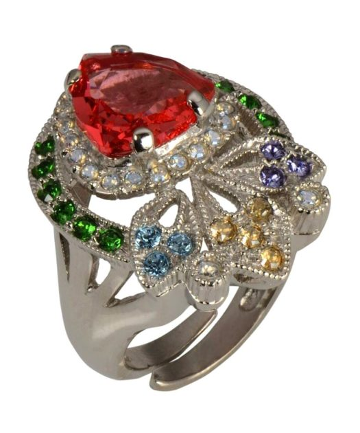 Anillo novia de colores con Swarovski Elements en plata rodinada