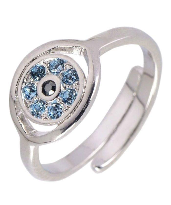 Anillo ojo de horus con cristales Swarovski azules de plata rodinada