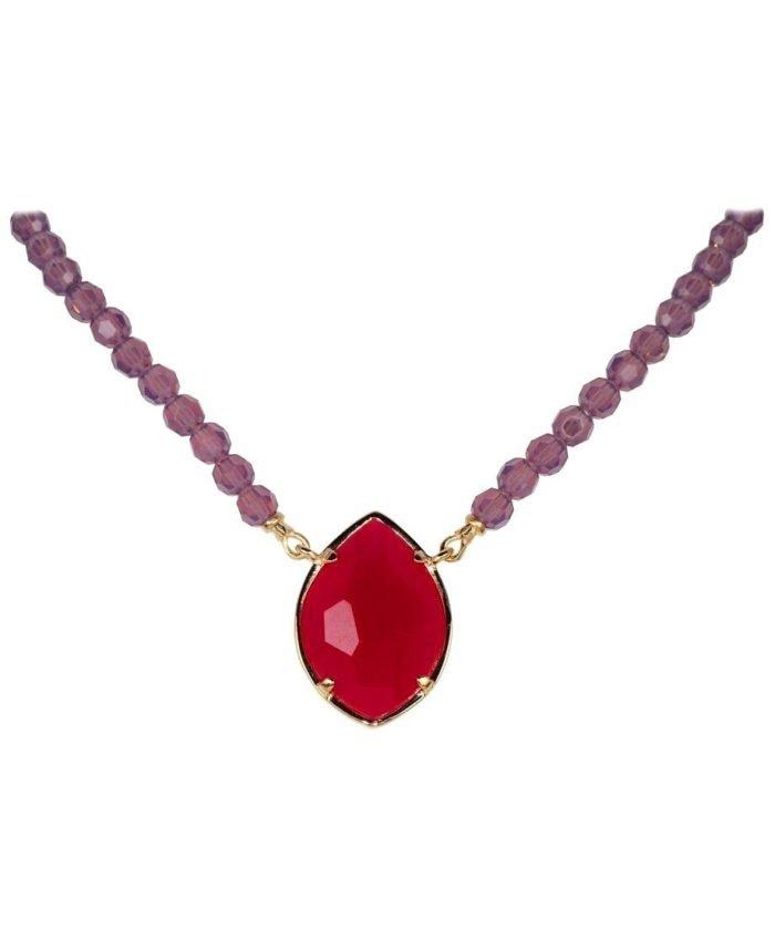 Collar Alegría con Swarovski Elements mate en tonos rojos y violetas de plata bañada en oro rosa