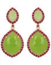 Pendientes con piedras de color verde y cristales Swarovski
