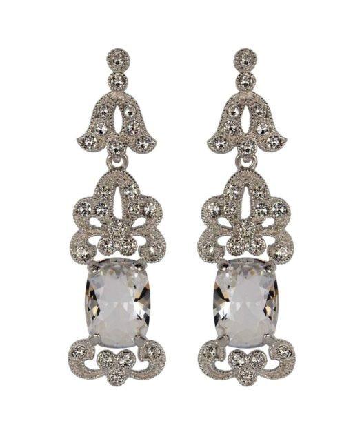 Pendientes de novia princesa en plata de ley rodinada con cristales Swarovski