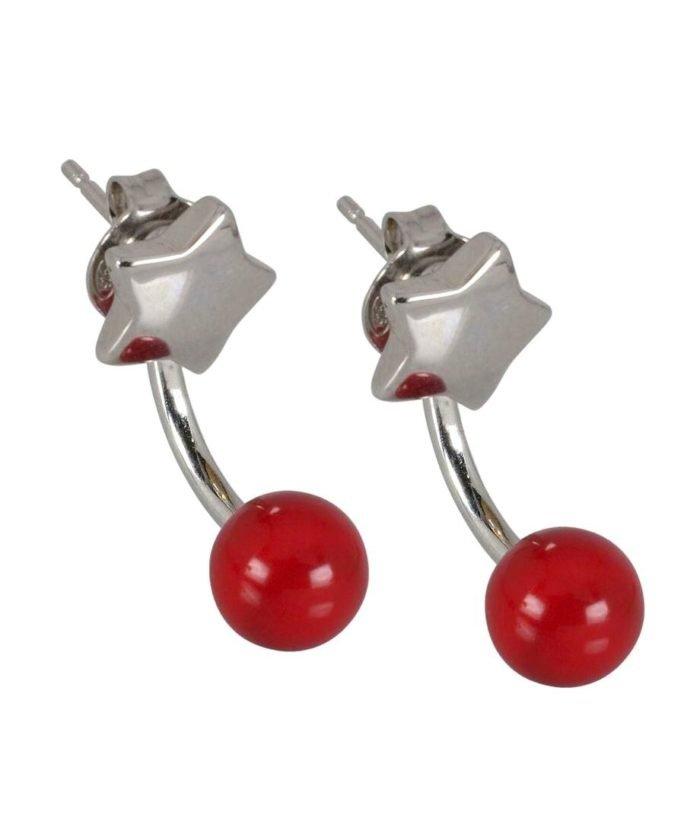 Pendientes dobles con estrella y bola roja fabricados en plata de ley rodinada