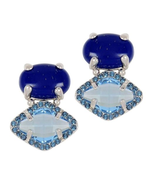 Pendientes lapislázuli con Swarovski Elements azules de plata rodinada