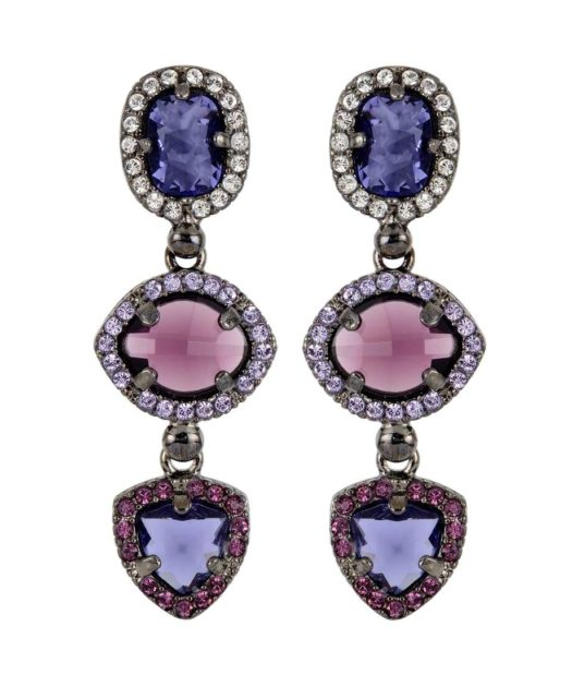 Pendientes largos Swarovski Elements violetas y morados de plata con rutenio