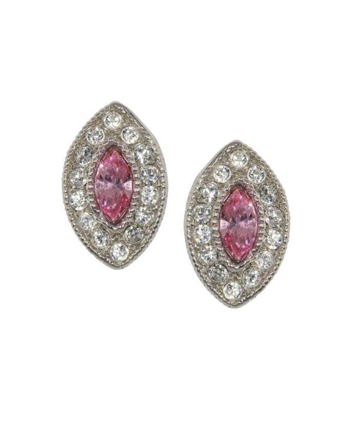 Pendientes pequeños ovalados de plata rodinada con cristales Swarovski
