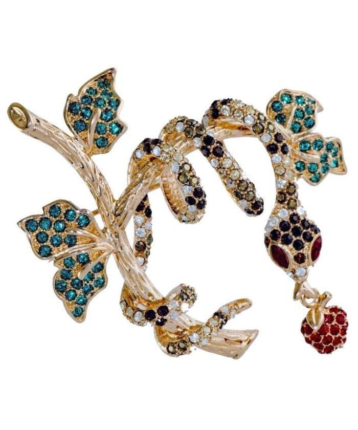 Broche Serpiente de plata y cristales de Swarovski en diversos tonos de la colección exclusiva de Máximo Betro. Joyería Turón, tienda online.