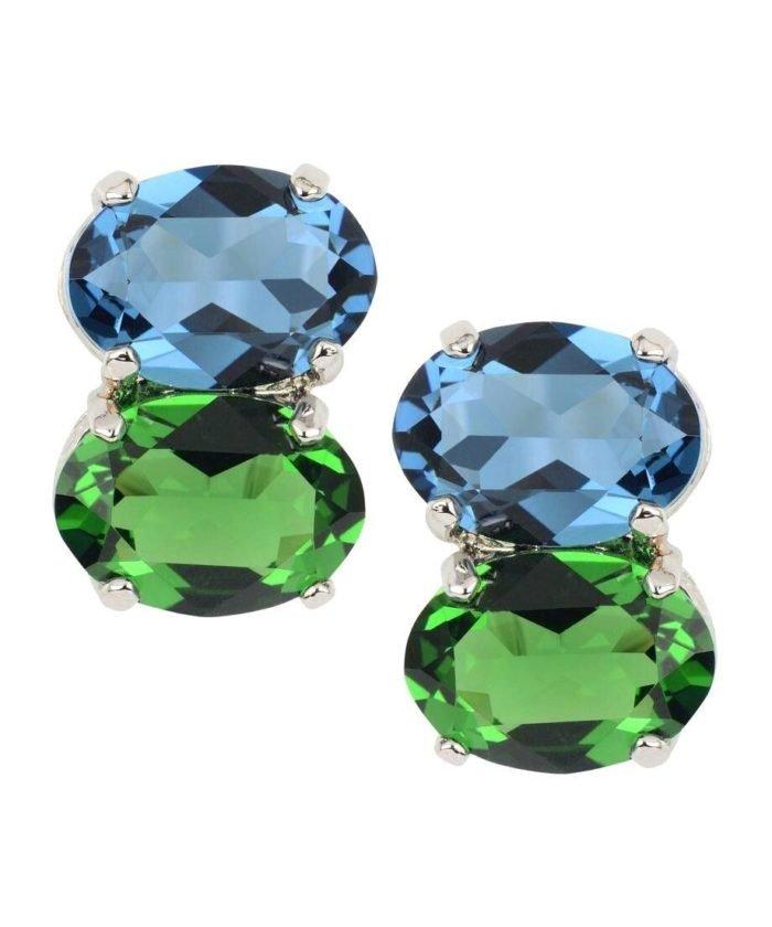 Pendientes color verde y azul de plata de ley rodinada